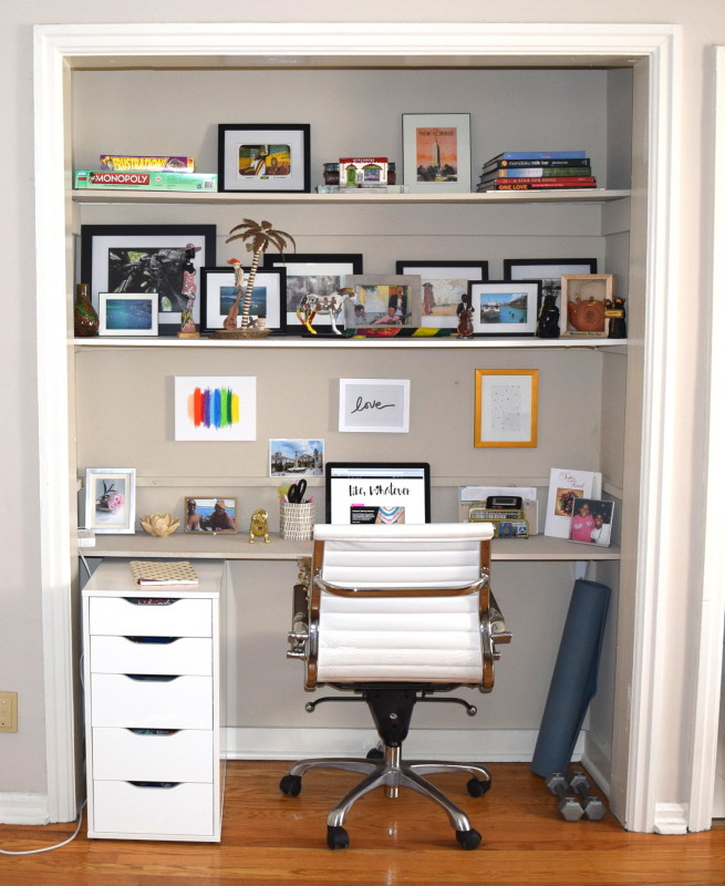 chic home office; closet office space