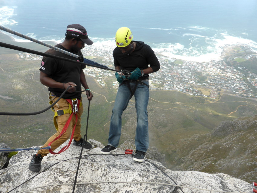 {Image: Abseiling down Table Mountain in Cape Town}